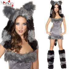Werewolf Halloween Costumes Girls Gray Sleeveless Backless Fox Girls Costume Dress Hat