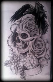 rose and cross tattoo skull roses crow raven stopwatch cross
