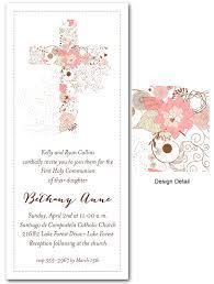 communion invitations for girl communion invitations pink cross of flowers invitations
