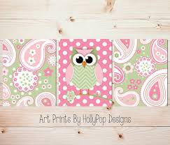 Pink And Green Nursery Decor Whimsical Owl Nursery Wall Décor Pink Green Room Wall By