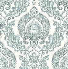 nuwallpaper nu1702 kensington damask blue peel u0026 stick wallpaper