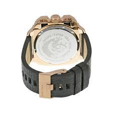 diesel bamf chronograph black dial black leather men u0027s watch