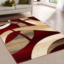 Area Rugs With Circles Allstar Red Carved Circles Modern Geometric Area Rug 7 U0027 9