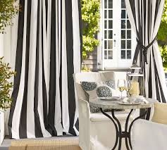 Sunbrella Patio Curtains Sunbrella Awning Stripe Indoor Outdoor Grommet Drape Pottery Barn