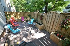 Townhouse Backyard Ideas Townhouse Patio With Fence Benches And Planter Boxes