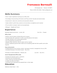 Office Clerk Resumes Examples Of Resumes 79 Enchanting Job Resume Samples Work