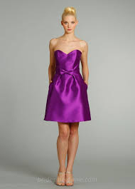 purple dresses for weddings knee length purple satin a line knee length bridesmaid dress with strapless