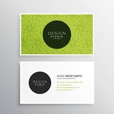 business card template in green color vector free download