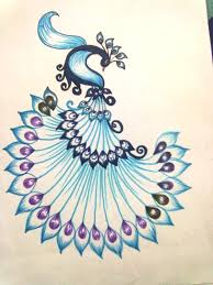alfa img showing peacock designs for fabric painting on cloth