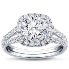 halo cushion cut engagement ring split shank halo setting for cushion cut r2988