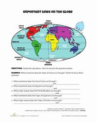 lines on the globe worksheet education com
