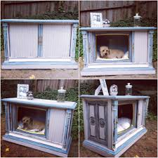 diy shabby chic pet bed tv console turned bed doggie bed diy bed painted