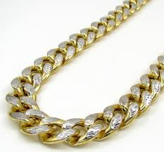 long yellow gold necklace images 10k yellow gold thick reversible two tone miami chain 30 inch 13mm jpg