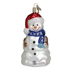 world happy snowman glass blown ornament