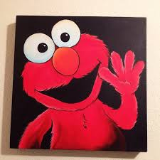 elmo painting elmo acrylic painting on gallery canvas 12x12 selling for flickr