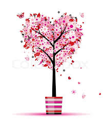 summer floral tree shape in pot for your design stock