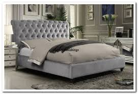 Grey Bed Frame Galaxy Chesterfield Sleigh Grey Chenille Fabric Upholstered Bed