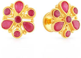 malabar earrings buy malabar women s 22k 916 gold ruby precia stud earrings