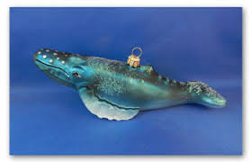 humpback whale blown glass ornament made in poland for