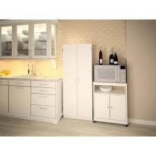 Kitchen Cart With Cabinet Altra Furniture Landry White Microwave Cart With Storage 5206015gm