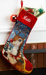 needlepoint personalized christmas stocking reindeer