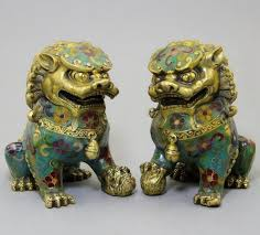 foo dog sculpture asian antique lion statue collection 1 pair of