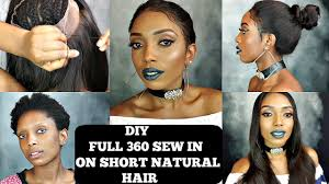 diy how to do full 360 lace frontal sew in on short natural hair