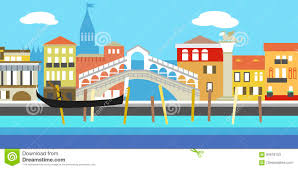 vector illustration of venice cityscape in simple style