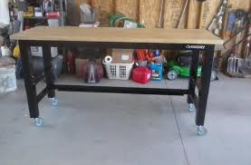 husky adjustable work table husky 6 ft solid wood top workbench g7200s us at the home depot