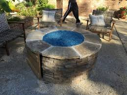 Glass Beads For Fire Pits by Delightful Patio Ideas Round Propane Fire Pit Table With Stone