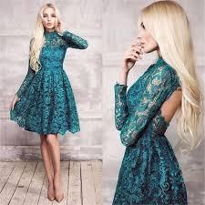 find a elegant short dark green long sleeve high neck lace