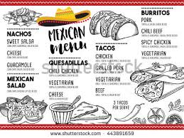 snack bar menu template mexican menu placemat food restaurant menu stock vector 443891659