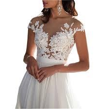 chady chiffon beach wedding dress 2016 lace back long tail wedding