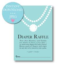 raffle baby shower pearls teal blue baby shower raffle