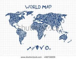 sketch world map hand drawn stylish stock vector 456718009