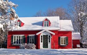nice little red house just ready to be used on a nice christmas