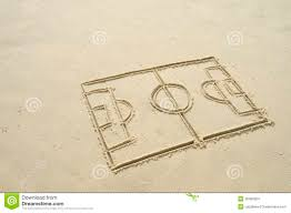 football soccer pitch line drawing in sand stock photo image