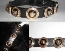 versace gold medusa head studded designer dog collar medium