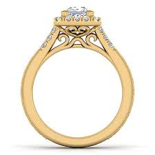 princess cut halo engagement ring 14k yellow gold princess cut halo engagement ring