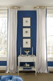 White Curtains With Blue Trim Decorating Charming White Curtains With Blue Trim Decorating With Best 25
