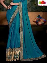 designer soft shiffon silk saree peacock blue ana 484 u2013 anagha