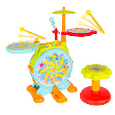 kids electronic toy drum set with adjustable sing along microphone
