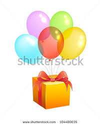 balloons gift vector bunch colorful balloons gift box stock vector 104400035