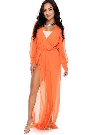 orange jumpsuit orange sheer sleeve plunging neckline slit dressy jumpsuit