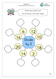 divide by 2 1 division maths worksheets for year 2 age 6 7
