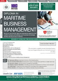 diploma in maritime business management by lloyds maritime academy
