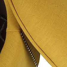Yellow Storage Ottoman Yellow Nailhead Round Ottoman Homebeez Modern Nailhead Trim Wood