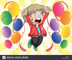 balloons for him illustration of a happy of a boy with balloons around him