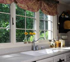 elegant brown floral fabric over valance kitchen window ideas