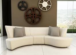 contemporary sectional sofa with modern look in white leather